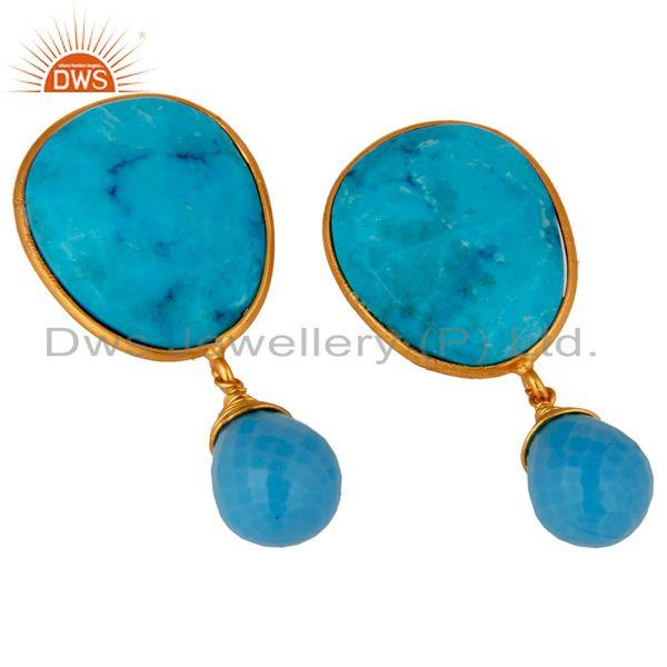 Exporter 14-Karat Gold Plated Sterling Silver Faceted Turquoise Gemstone Dangle Earrings