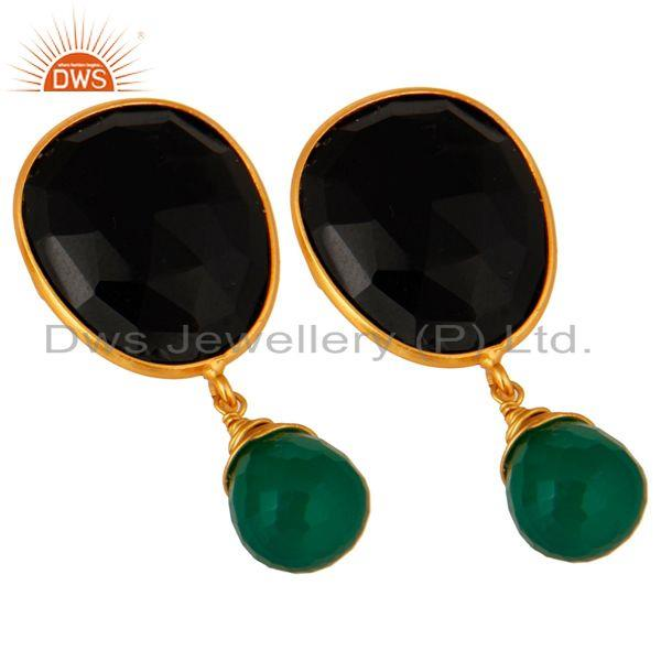 Exporter 18-Carat Gold Plated Sterling Silver Genuine Green Onyx And Black Onyx Earrings