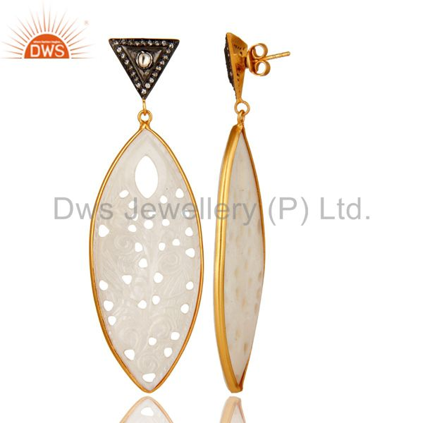 Exporter 18K Gold Over Silver Mother Of Pearl Carved Bezel Set Dangle Earrings With CZ