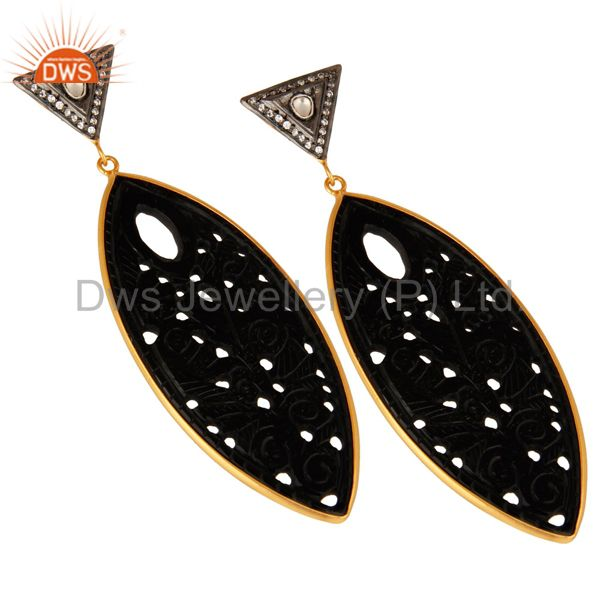 Exporter 18K Gold Plated Sterling Silver Black Onyx Carved And cz Dangle Earrings