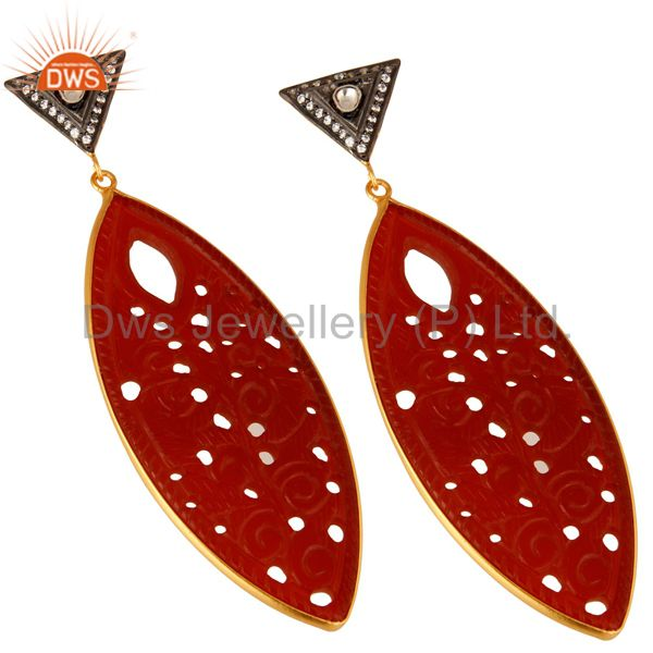 Exporter Carved Red Onyx Gemstone And CZ Dangle Earrings In 18K Gold Over Sterling Silver