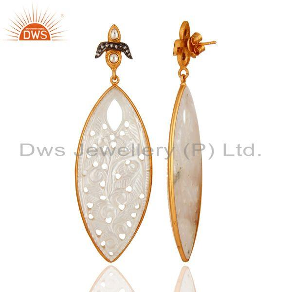 Exporter 18K Yellow Gold Plated Sterling Silver Mother Of Pearl Carved Dangle Earrings
