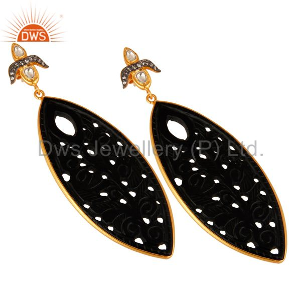 Exporter Black Onyx Gemstone Carving Bezel Set Dangle Earrings In 18K Gold On Silver
