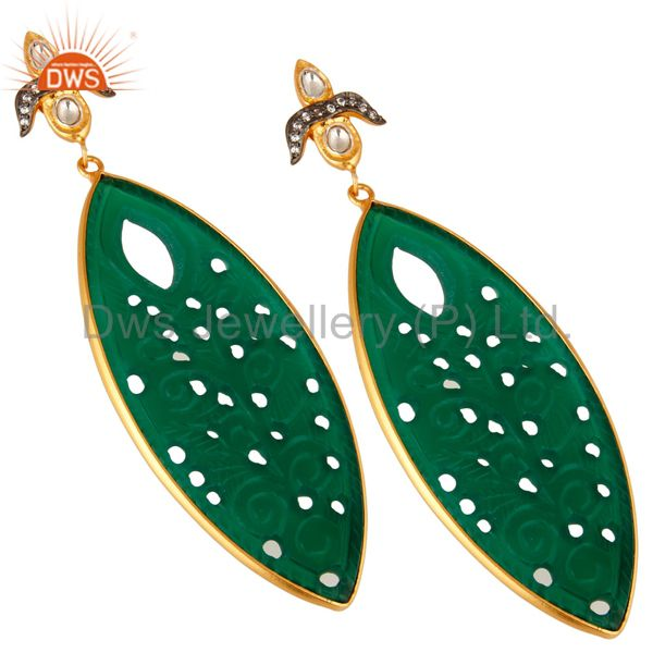 Exporter 18K Gold Over Silver Green Onyx Gemstone Carving Bezel Set Dangle Earrings
