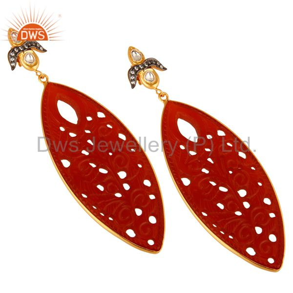 Exporter 18K Gold Plated Sterling Silver Red Onyx Gemstone Carved Dangle Earrings