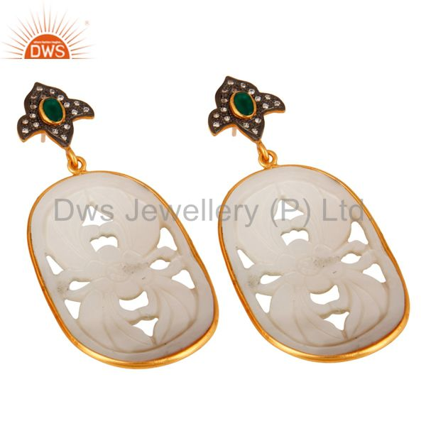 Exporter Green Onyx And CZ 925 Silver Carved Mother of Pearl Earrings - Gold Plated