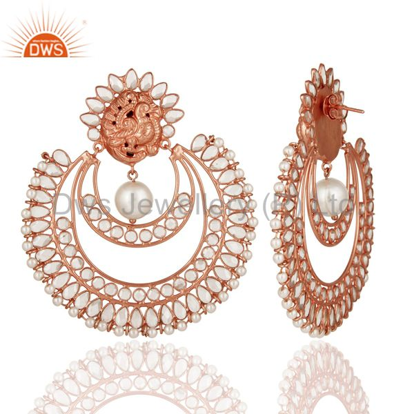 Exporter Indian Rose Gold Plated Sterling Silver Natural Pearl And White Zircon Earrings