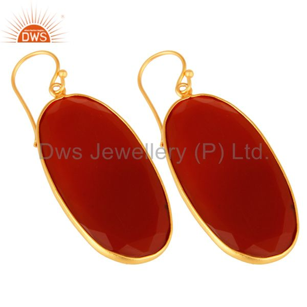 Exporter Faceted Red Onyx Gemstone Bezel-Set Sterling Silver Earrings - Gold Plated