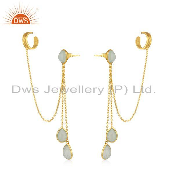 Exporter Aqua Chalcedony Gemstone Silver Gold Plated Earrings Jewelry Supplier