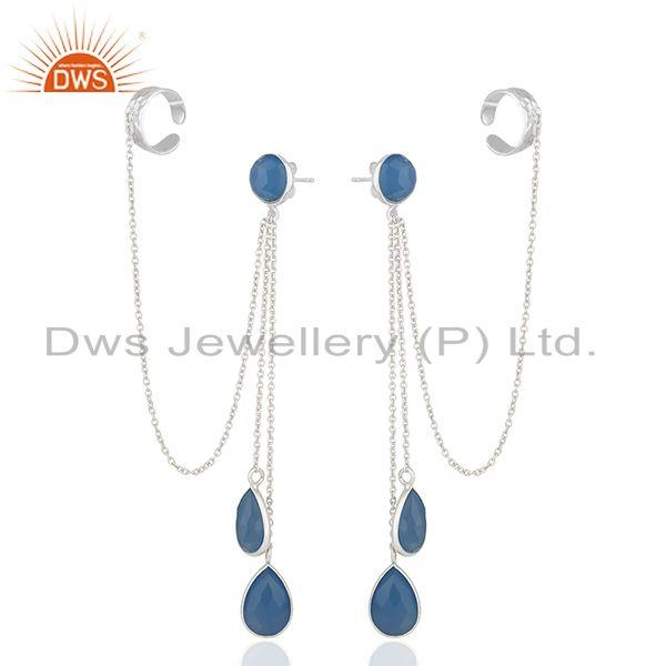 Exporter Blue Chalcedony Gemstone 925 Sterling Silver Ear Cuff Earrings Suppliers