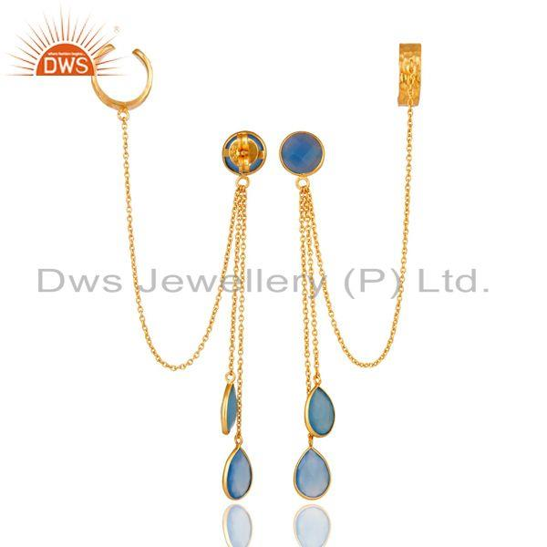Exporter 18K Yellow Gold Plated Sterling Silver Blue Chalcedony Chain Ear Cuff Earrings