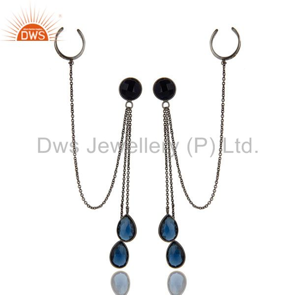 Exporter Oxidized Sterling Silver Blue Corundum Gemstone Chain Fashion Ear Cuff Earrings