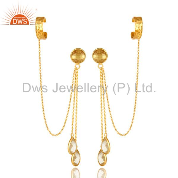 Exporter 18K Yellow Gold Plated Sterling Silver Citrine Gemstone Chain Ear Cuff Earrings