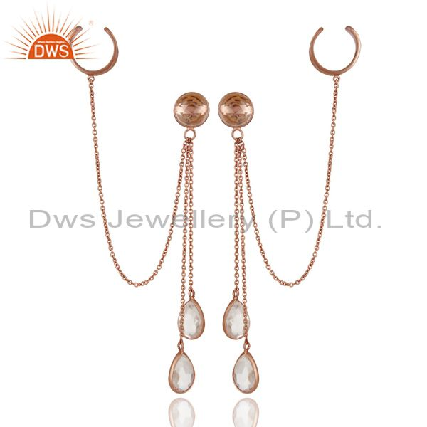 Exporter 18K Rose Gold Plated Sterling Silver Crystal Quartz Chain Ear Cuff Earrings