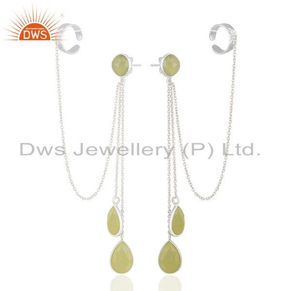 Exporter Yellow Chalcedony Gemstone 925 Fine Silver Ear Cuff Earrings Manufacturer