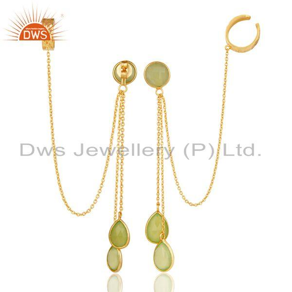 Exporter 18K Yellow Gold Plated Sterling Silver Green Chalcedony Ear Cuff Earrings