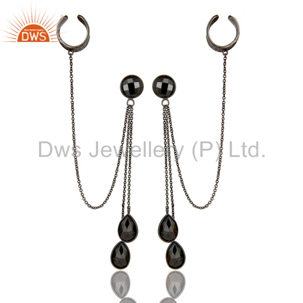 Exporter Oxidized Sterling Silver Hematite Gemstone Fashion Chain Ear Cuff Earrings
