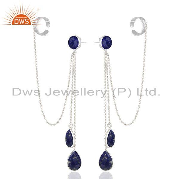 Exporter Lapis Lazuli Gemstone 925 Silver Ear Cuff Earrings Manufacturers
