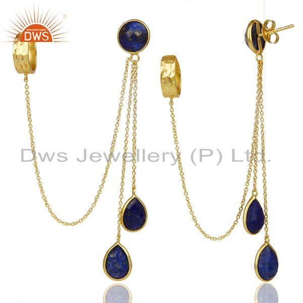 Exporter 18K Yellow Gold Plated 925 Sterling Silver Lapis Lazuli Chain Ear Cuff Earrings