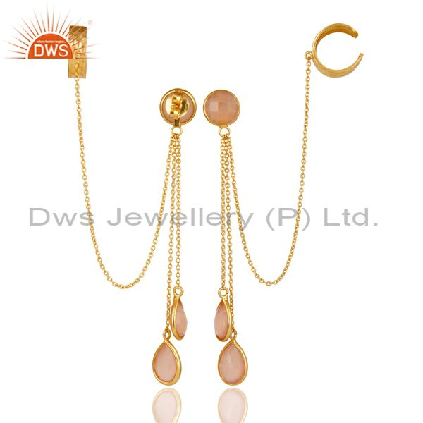 Exporter 18K Gold Plated Sterling Silver Rose Chalcedony Fashion Chain Ear Cuff Earring