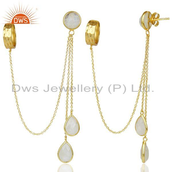 Exporter 18K Gold Plated 925 Sterling Silver Rainbow Moonstone Chain Ear Cuff Earrings