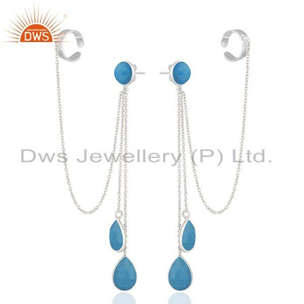 Exporter Matrix Turquoise Gemstone 925 Silver Ear Cuff Earrings Manufacturers
