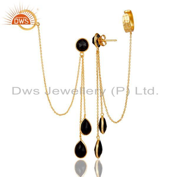 Exporter 18K Yellow Gold Plated Sterling Silver Black Onyx Womens Ear Cuff Earrings