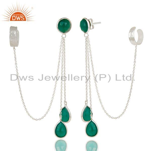 Exporter Handmade Solid 925 Sterling Silver Green Onyx Chain Chandelier Ear Cuff Jewelry