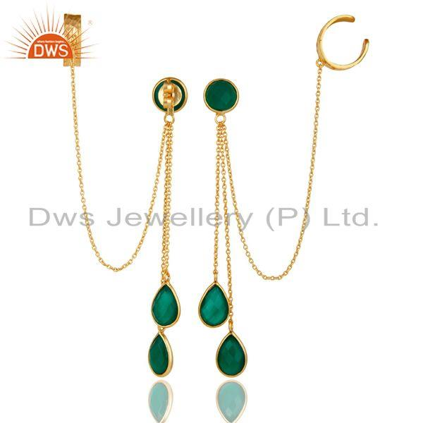 Exporter 18K Yellow Gold Plated Sterling Silver Green Onyx Chain Ear Cuff Earrings