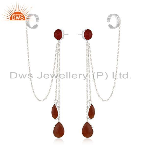 Exporter Red Onyx Gemstone Fine Sterling Silver Designer Ear Cuff Earrings Manufacturer