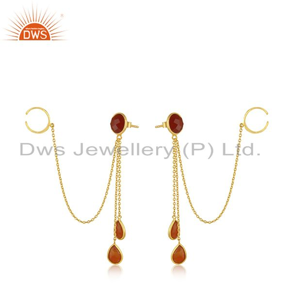 Exporter 18K Yellow Gold Plated Sterling Silver Red Onyx chain Ear Cuffs Earrings