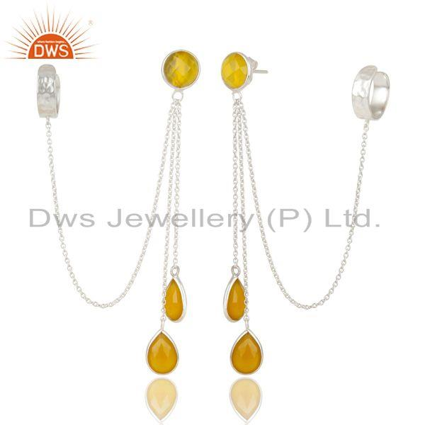 Exporter Handmade Solid 9S5 Sterling Silver Yellow Chalcedony Chain Ear Cuff Earrings