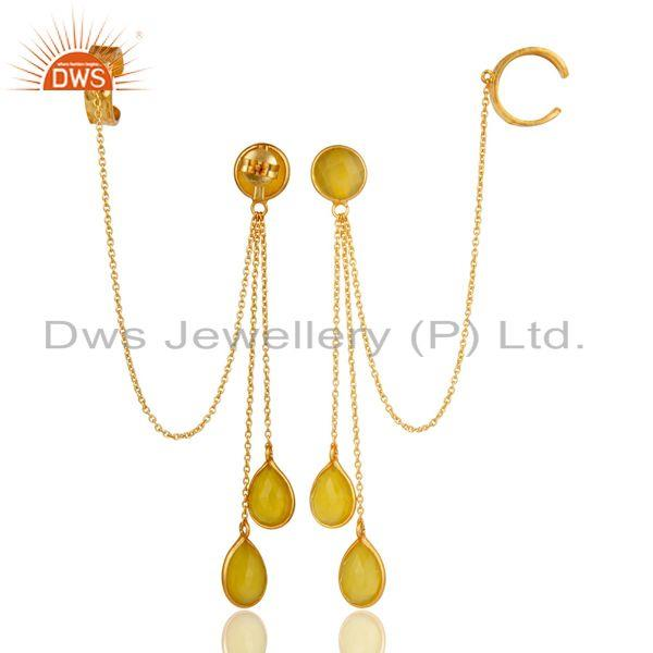 Exporter 18K Gold Plated Sterling Silver Yellow Chalcedony Fashion Chain Ear Cuff Earring