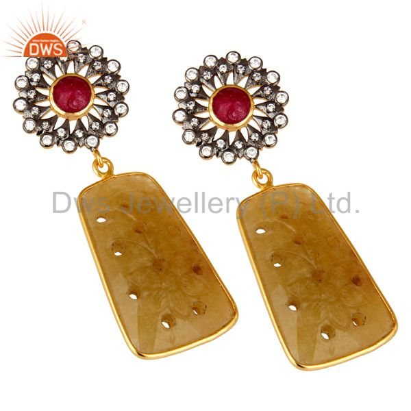 Exporter 22K Gold Plated Sterling Silver Yellow Sapphire Carved Dangle Earrings With CZ