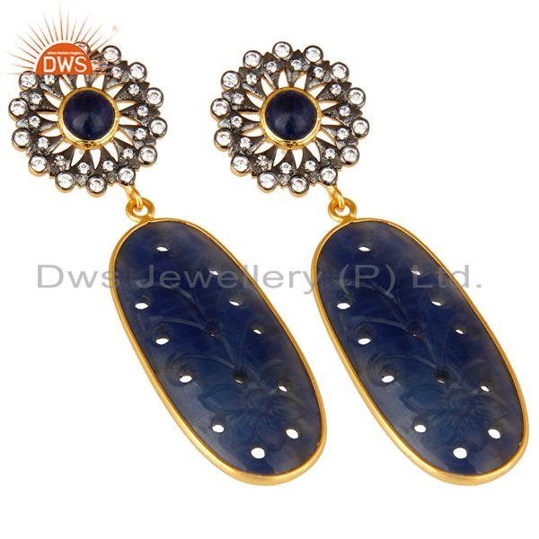 Exporter Blue Sapphire Zircon 22K Gold Plated 925 Sterling Silver Earrings Jewelry