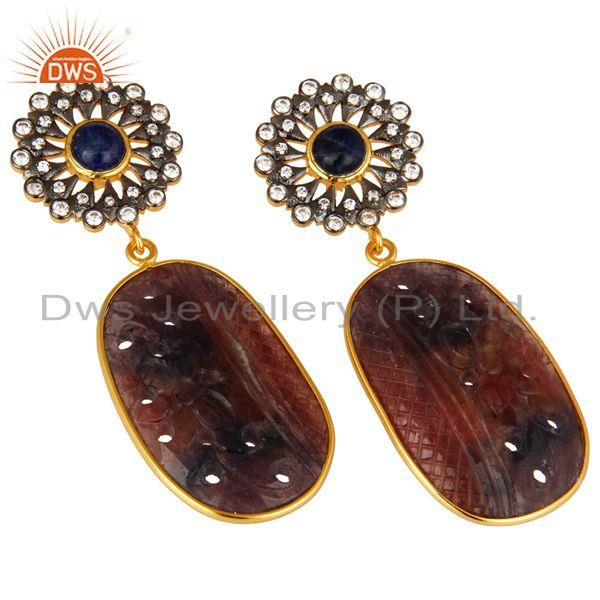 Exporter 22K Gold Plated Sterling Silver Multi Sapphire Carved Dangle Earrings With CZ