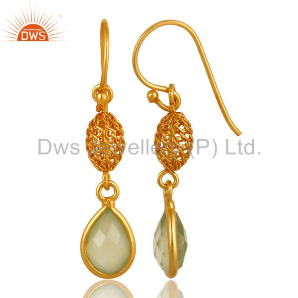 Exporter 18K Gold Plated Sterling Silver Green Chalcedony Drop Earrings