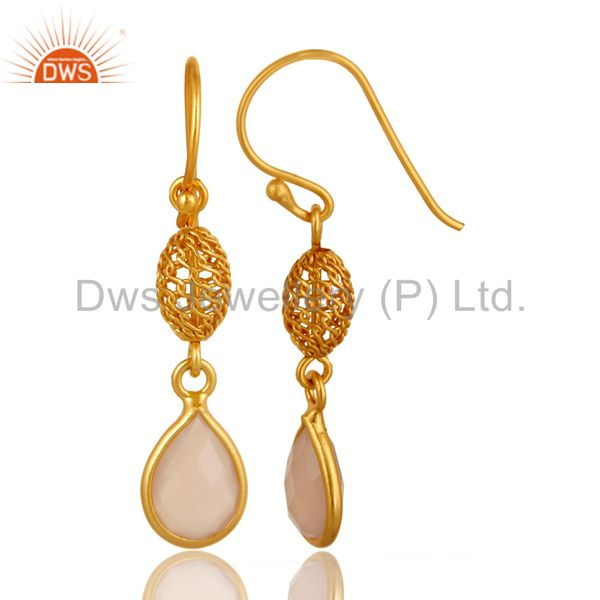 Exporter Bezel-Set Rose Chalcedony Sterling Silver Earrings - Yellow Gold Plated