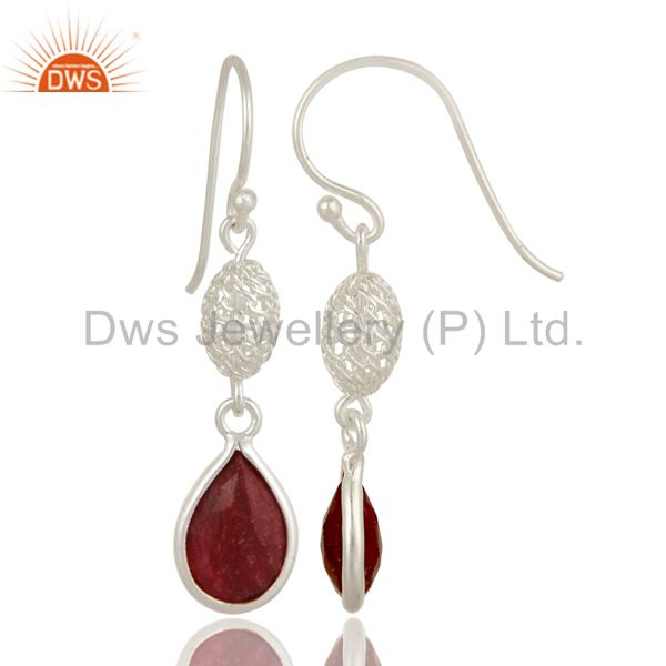 Exporter 925 Sterling Silver Ruby Red Corundum Bezel-Set Drop Earrings