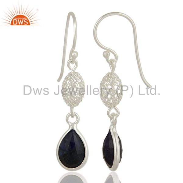 Exporter Sapphire Blue Corundum Bezel-Set Drop Earrings In 18K Gold Over Sterling Silver