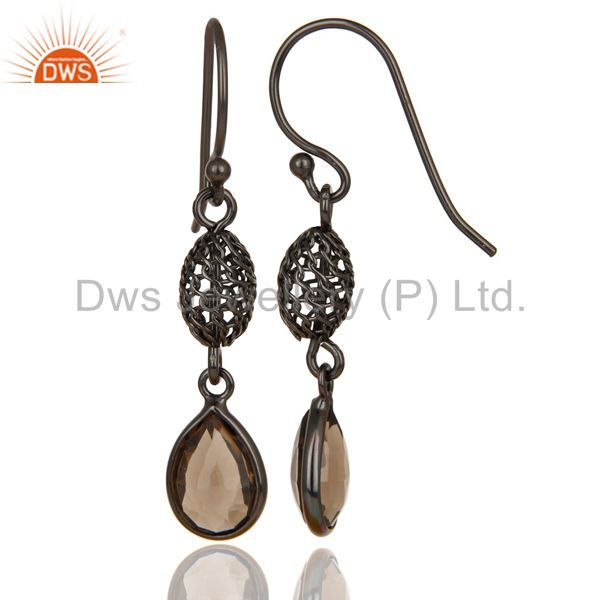 Exporter Black Oxidized 925 Sterling Silver Smokey Quartz Bezel Set Dangle Earrings