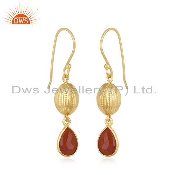 Exporter 14k Gold Plated Sterling Silver Natural Red Onyx Gemstone Drop Earrings