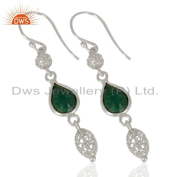 Exporter 925 Sterling Silver Dyed Emerald Green Corundum Gemstone Dangle Earrings
