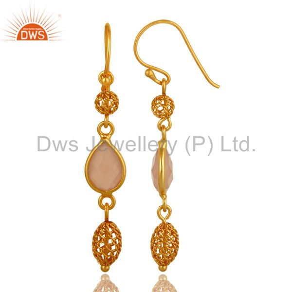 Exporter Designer Rose Chalcedony Drop Earrings In 14K Yellow GOld Over Sterling Silver
