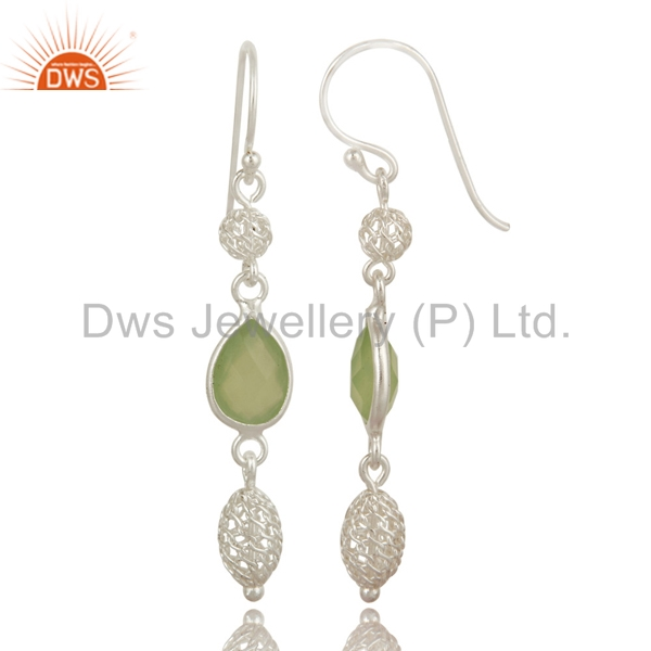 Exporter Dyed Prehnite Chalcedony Sterling Silver Designer Dangle Earrings