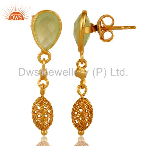 Exporter Green Chalcedony Gemstone Sterling Silver Drop Earrings With Gold Plated