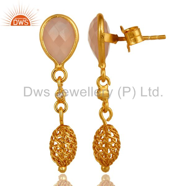 Exporter Rose Chalcedony Gemstone Sterling Silver Drop Earrings With Gold Plated