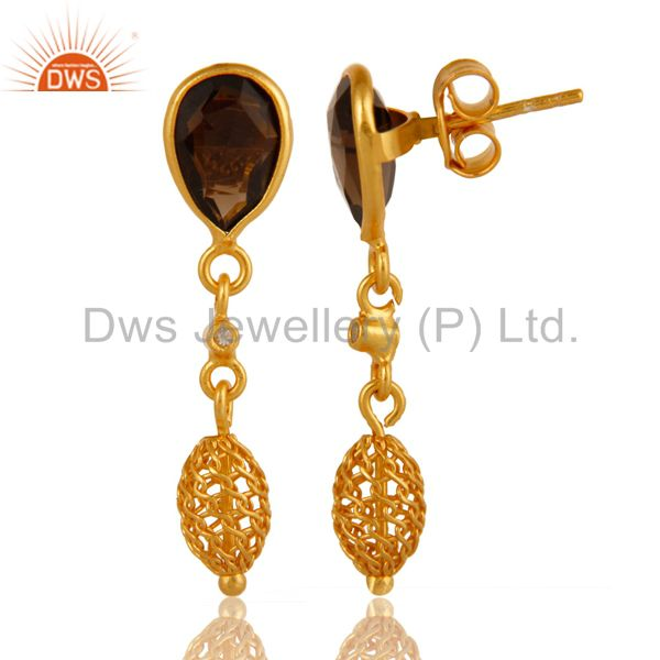 Exporter Natural Smoky Quartz Sterling Silver Drop Earrings With Yellow Gold Plated
