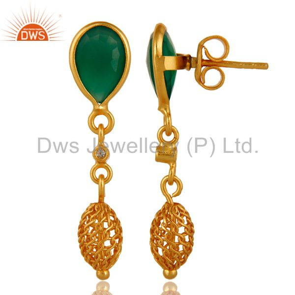 Exporter Natural Faceted Green Onyx Sterling Silver Bezel-Set Earrings - Gold Plated