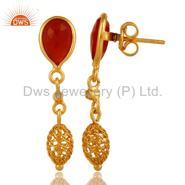 Exporter White Topaz And Red Onyx Drop Earrings in 18K Gold Over Sterling Silver